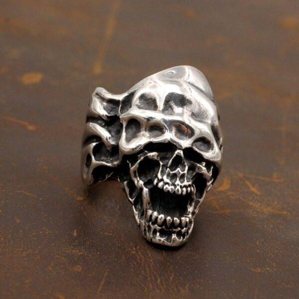 Men's Sterling Silver Gothic Devil Skull Ring