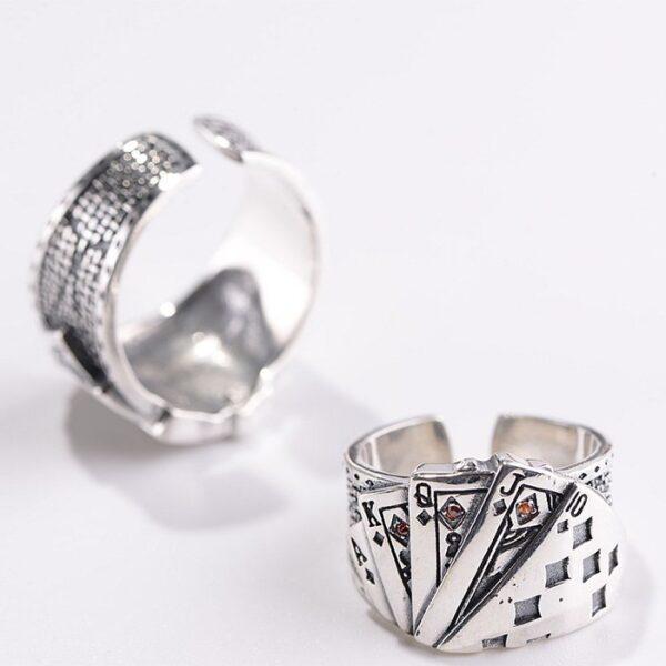 Men's Sterling Silver Poker Gamble Ring