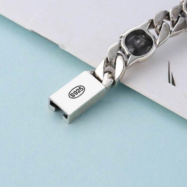 Men's Sterling Silver Skull & Curb Link Bracelet