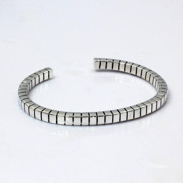 Silver Box Link Chain Cuff Bracelet