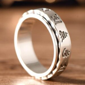 Silver Buddhist Sanskrit Spinner Ring