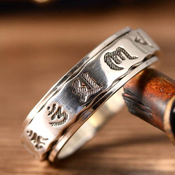 Silver Buddhist Sanskrit Spinner Ring