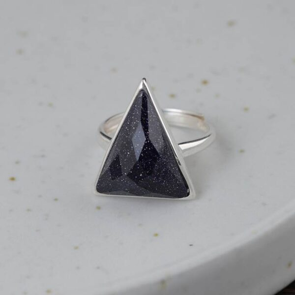 Silver Crystal Triangle Ring