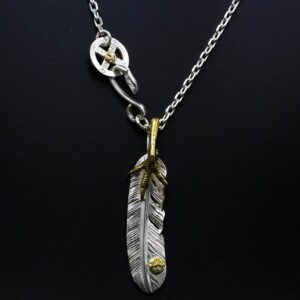 Silver Feather Pendant Claw Necklace
