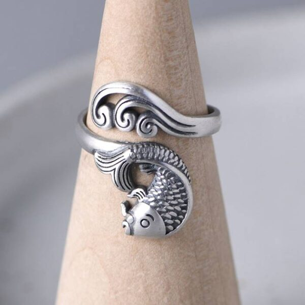 Silver Fish & Wave Ring