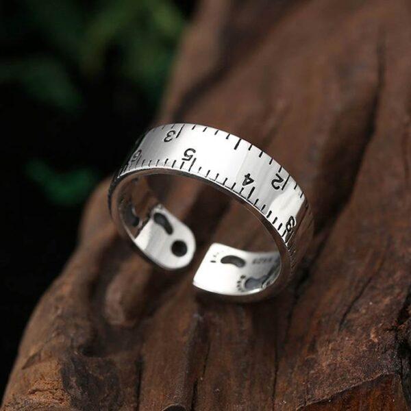 Silver Footprint Ruler Pinky Ring