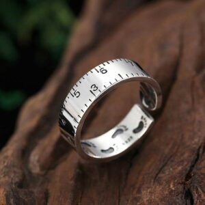 Silver Footprint Ruler Pinky Ring