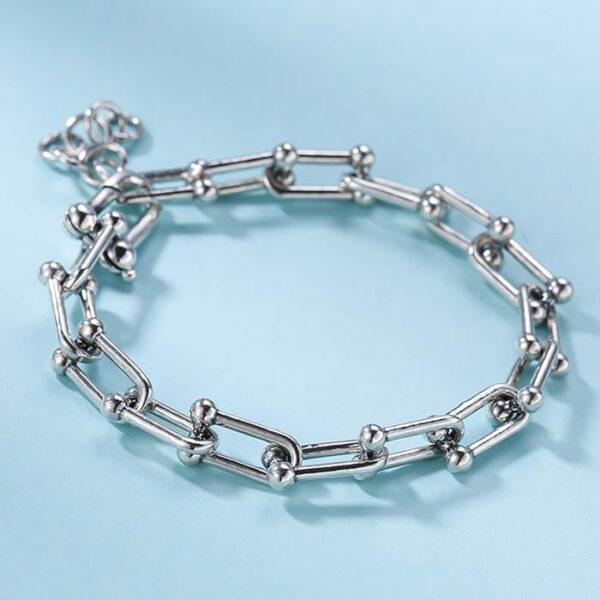Silver Horseshoe Link Chain Bracelet