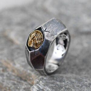 Silver Matte Beveled Skull Ring