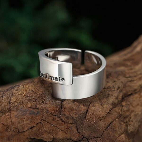 Silver Polished Love Soulmate Ring