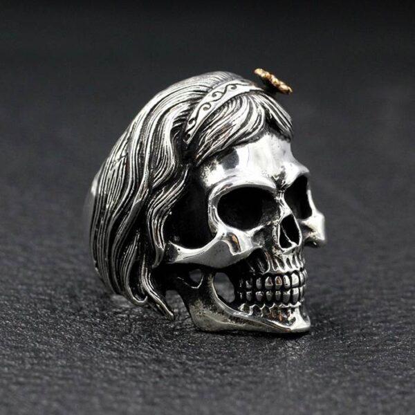 Silver 'Skull Of Female' Biker Ring