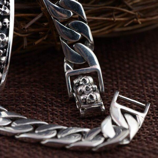 Sliver Cuban Link Chain Skull Id Bracelet