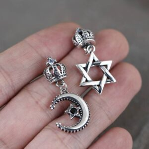 Star Of David Moon & Crown Drop Earrings