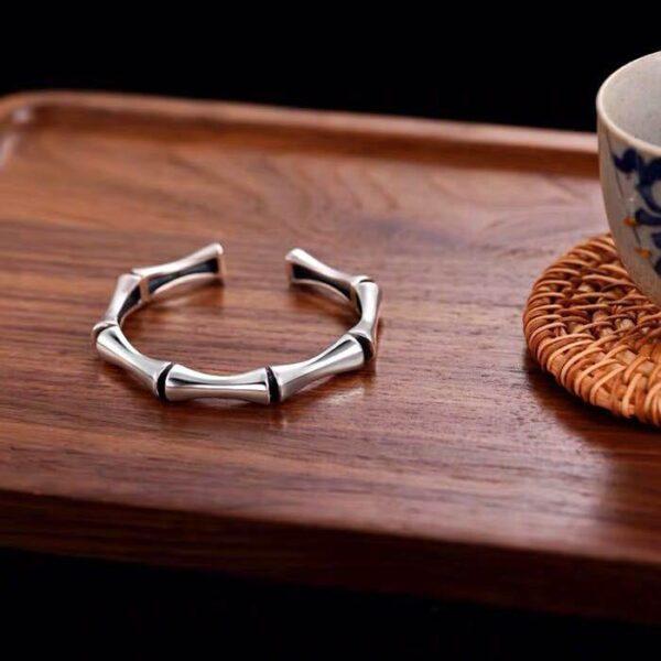 Sterling Silver Bamboo Cuff Bracelet