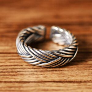 Sterling Silver Braided Cuff Ring