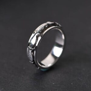 Sterling Silver Fish Spinner Ring
