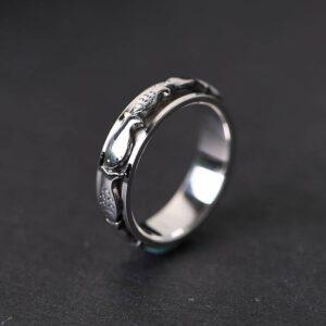 Sterling Silver Fish Spinner Ring
