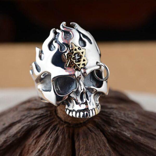 Sterling Silver Star Of David Flames Skull Ring