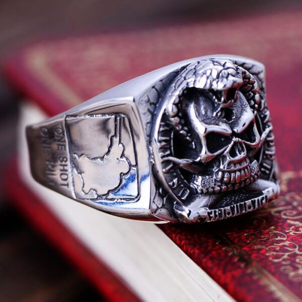 US Army Sniper Military Snake Skull Ring