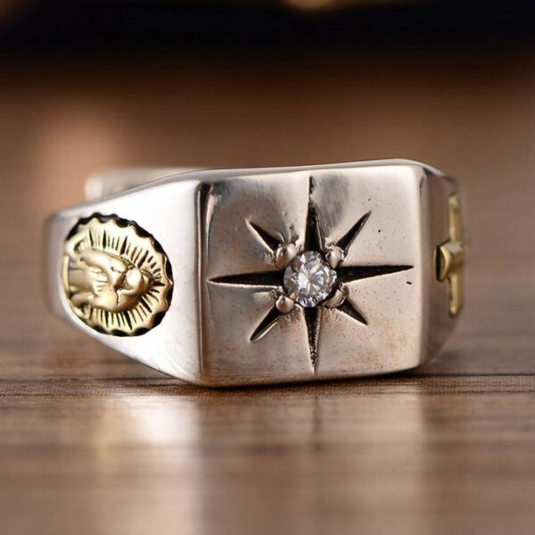 Virgin Mary Cross Star Ring