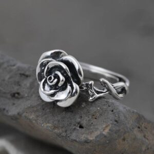 Women's Silver Rose Pinky Ring