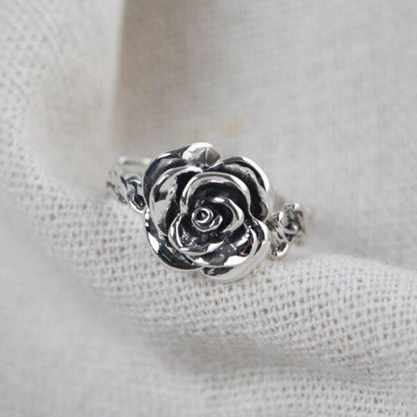 Women's Silver Rose Pinky Ring