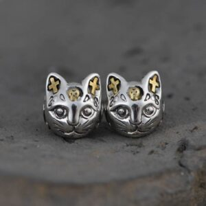 Women's Sterling Silver Cat Earrings