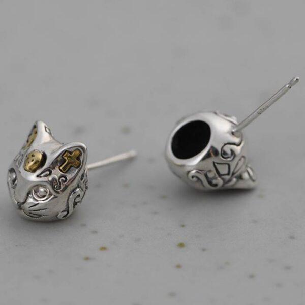 Women's Sterling Silver Cat Earrings