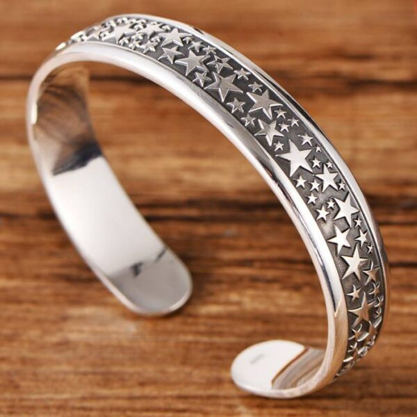 999 Silver Star Cuff Bracelet