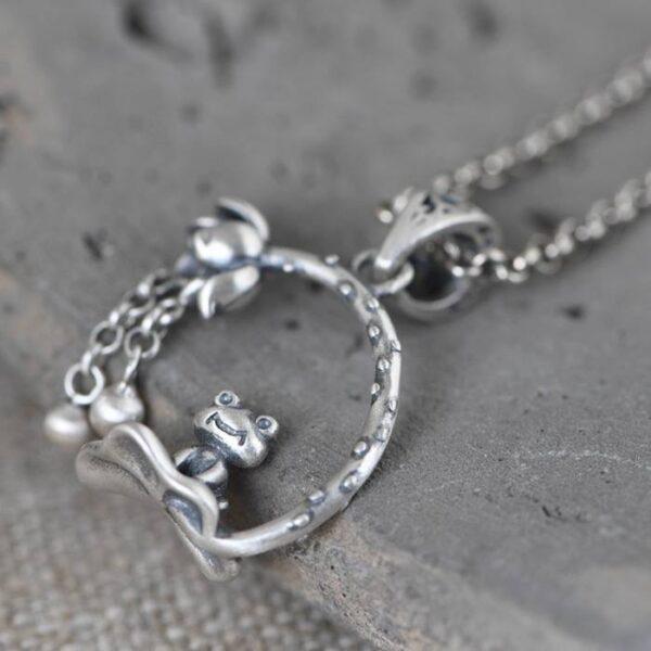 Lotus Frog Pendant Necklace