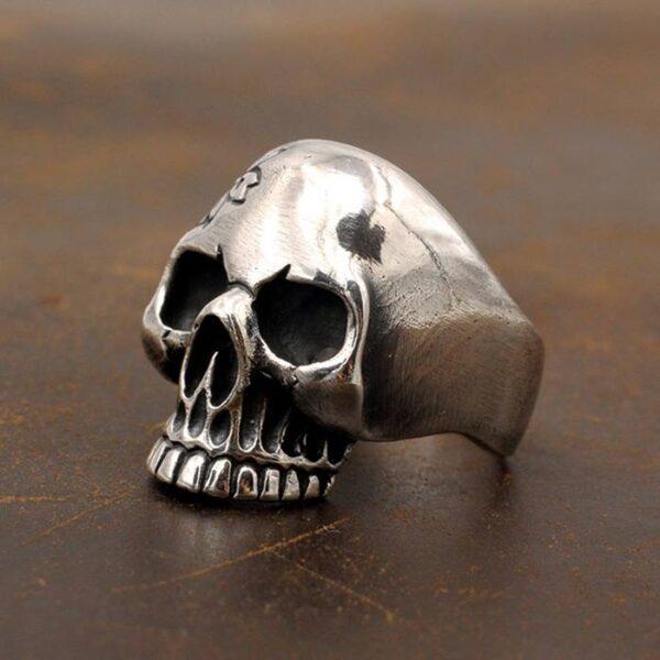 Men's Sterling Silver Sakura Skull Ring