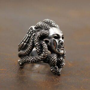 Silver Handmade Medusa Ring