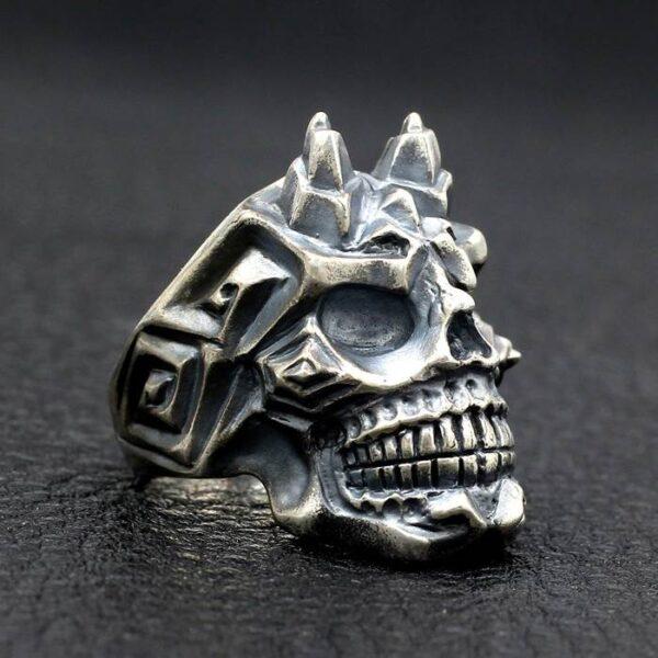 Silver Punk Skull Ring