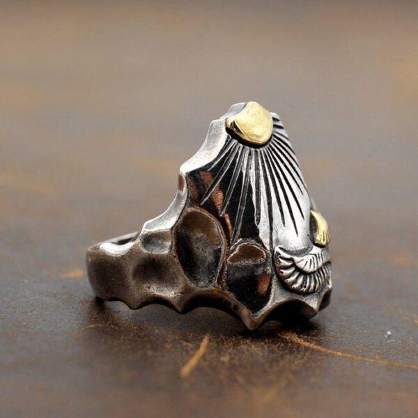 Silver Sun Eagle Ring