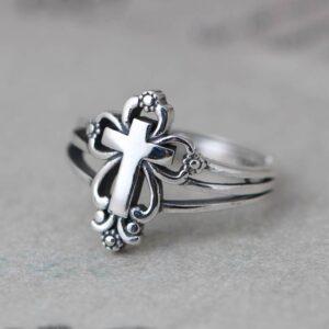 Women's Sterling Silver Cross Ring