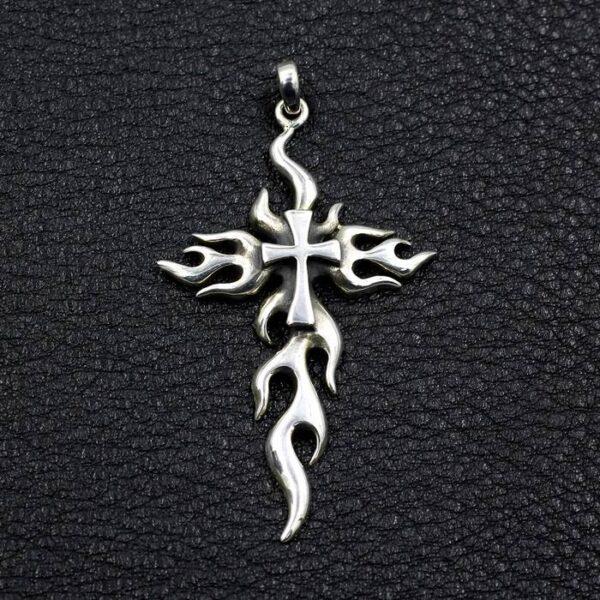 Flames Cross Pendant