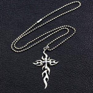 Flames Cross Pendant Necklace