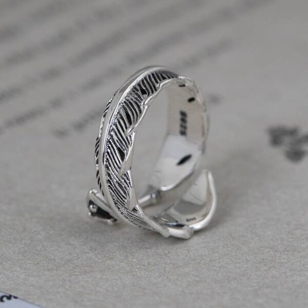 Silver Arrow Feather Ring