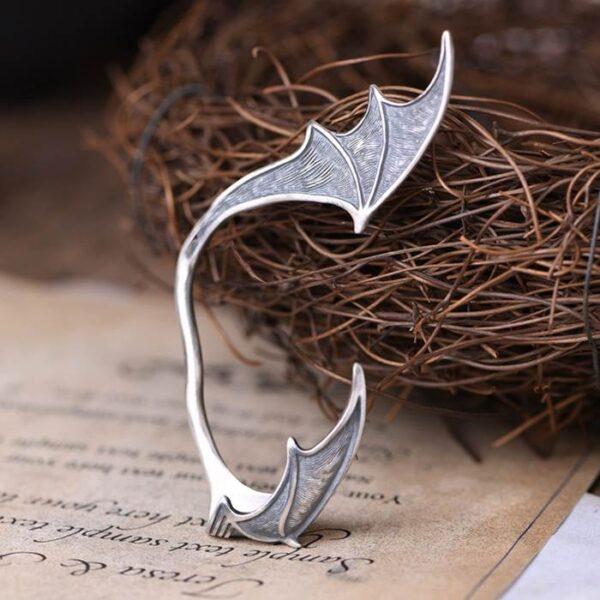 Silver Bat Wing Ear Clip