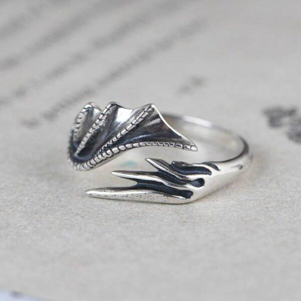 Silver Dragon Wing Ring