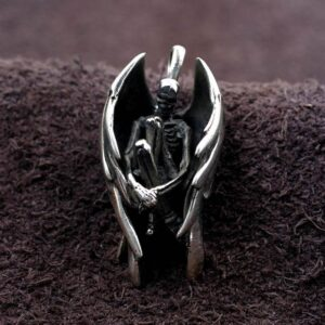Silver Fallen Angel Skeleton Pendant