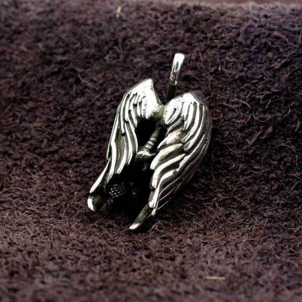 Silver Fallen Angel Skeleton Pendant