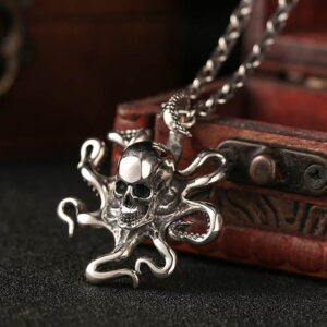 Silver Octopus Skull Pendant Necklace