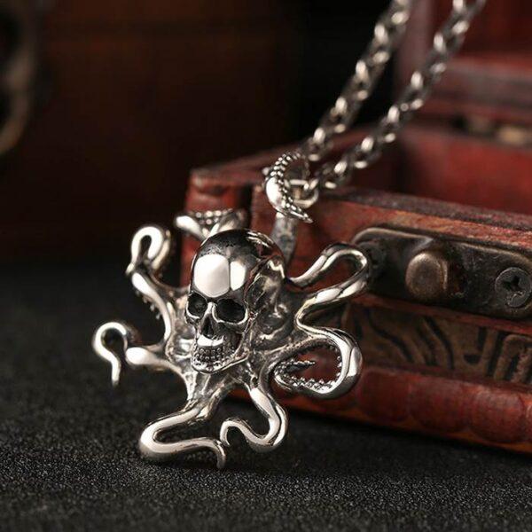 Silver Octopus Skull Pendant Necklace