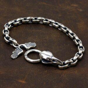Silver Raven Skull Chain Bracelet