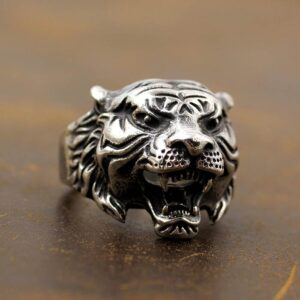 Silver Tiger Head Ring