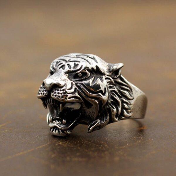 Silver Tiger Head Ring