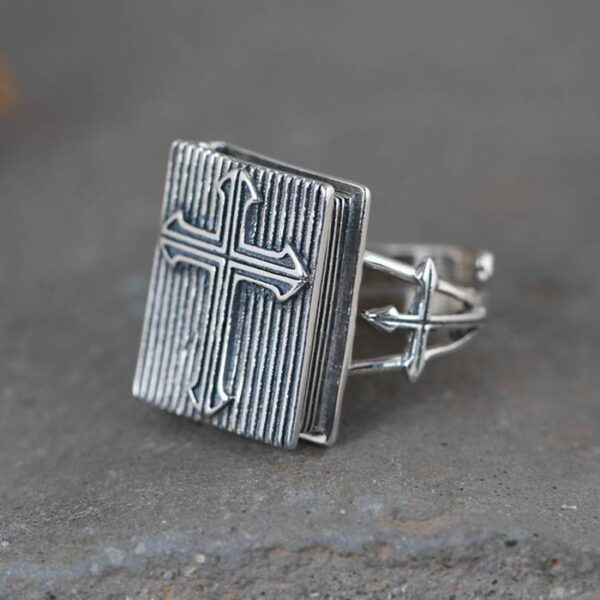 Sterling Silver Cross Holy Bible Ring