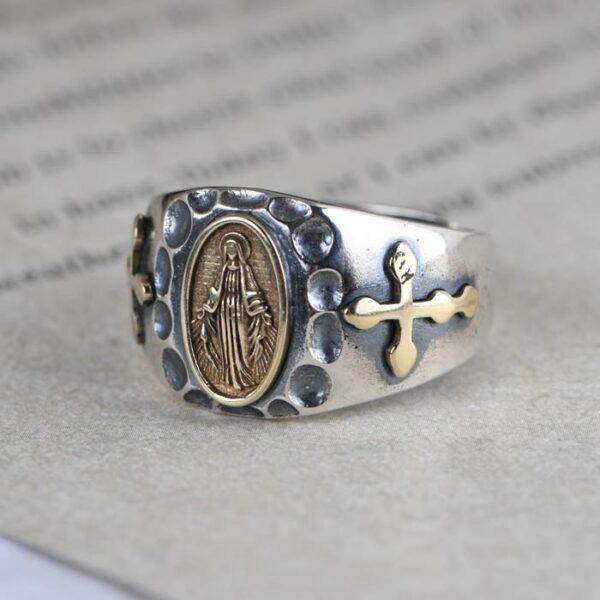 Virgin Mary Cross Ring