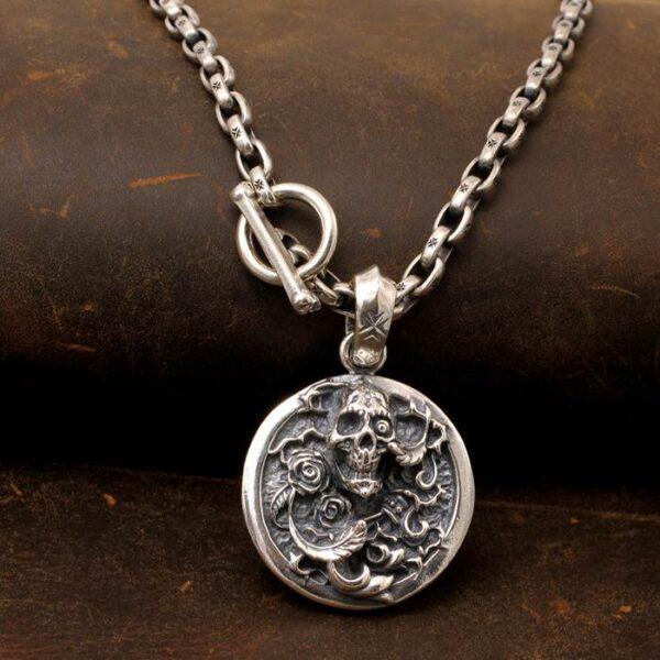 Rose Skull Pendant Necklace
